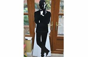 Large-Stand-up-JAMES-BOND-cardboard-figure-with-gun-black-white-1-7m-67-034-tall