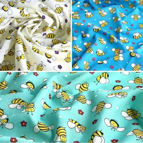 Polycotton Fabric Smiling Cartoon Bumble Bee Bees Floral Flower Polka Dot Spot