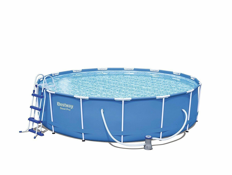 Bestway 56488 piscina tonda con telaio 457x107h con pompa filtro scaletta e teli