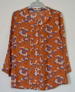 NEW-EX-WHITE-STUFF-UK-SIZE-8-10-12-TERRACOTTA-BLUE-FLORAL-BLOUSE-TOP