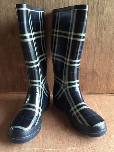 b49ac92ac0ada Details about Womens London Fog Plaid Check Tartan White Blue Yellow on  Black Rain boots 8