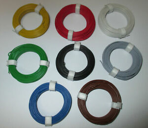0-125EUR-M-Copper-Hook-Up-Wire-0-5mm-8-x-10-Meter-New-Colour-Choice-Possible
