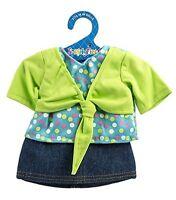 Fiber Craft Springfield Collection Shrug/skirt For Doll, Lime/denim -new