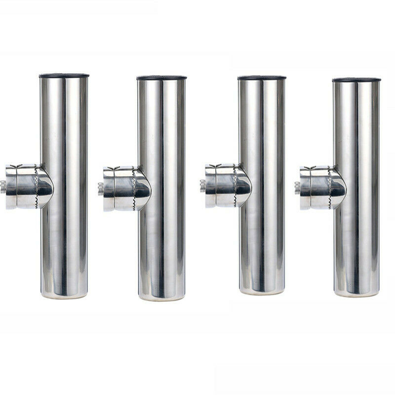 4 Pieces Stainless Rail Mount Clamp on Fishing  Rod Holder for Rails 1  to 1-1 4   best-selling