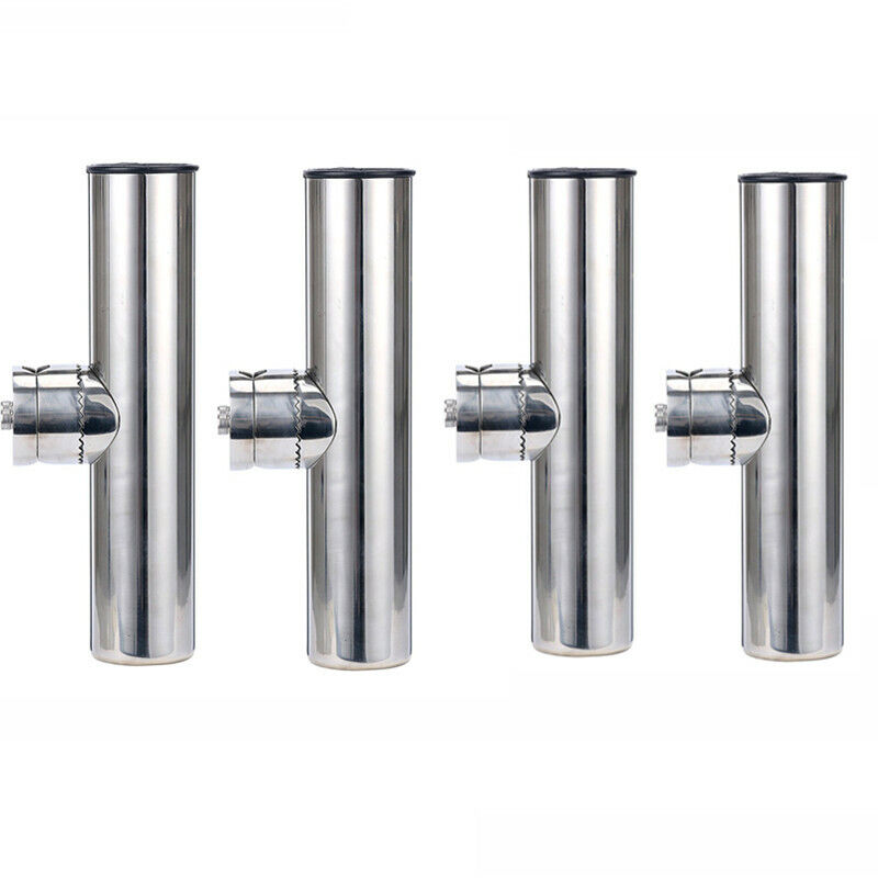 4 Pieces Stainless Rail Mount  Clamp on Fishing Rod Holder for Rails 1  to 1-1 4   high quality genuine
