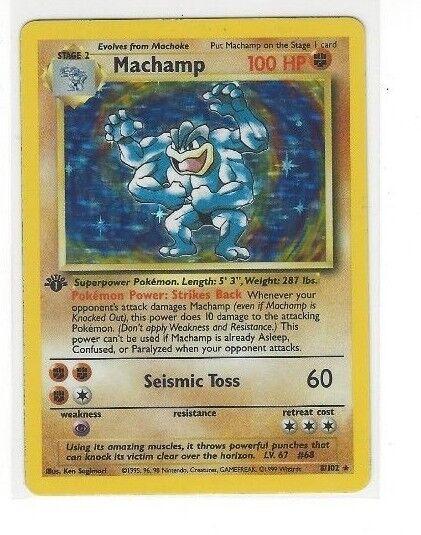 Pokémon ist erste ausgabe tcg - basis - satz machamp   8   102 100 ps holo - folie unplayed
