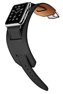 Apple Watch Cuff Bracelet Strap For iWatch 38mm Fauve Barenia Black Hermès Style - <span itemprop='availableAtOrFrom'>Crayford, Kent, United Kingdom</span> - Apple Watch Cuff Bracelet Strap For iWatch 38mm Fauve Barenia Black Hermès Style - Crayford, Kent, United Kingdom