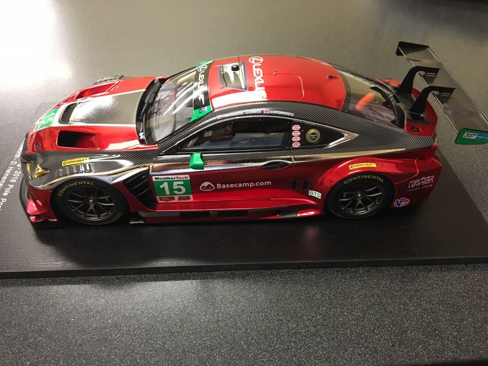 Spark 2018 Lexus tävlings RCF GT3 1  18 skala röd Ny RARE -bil