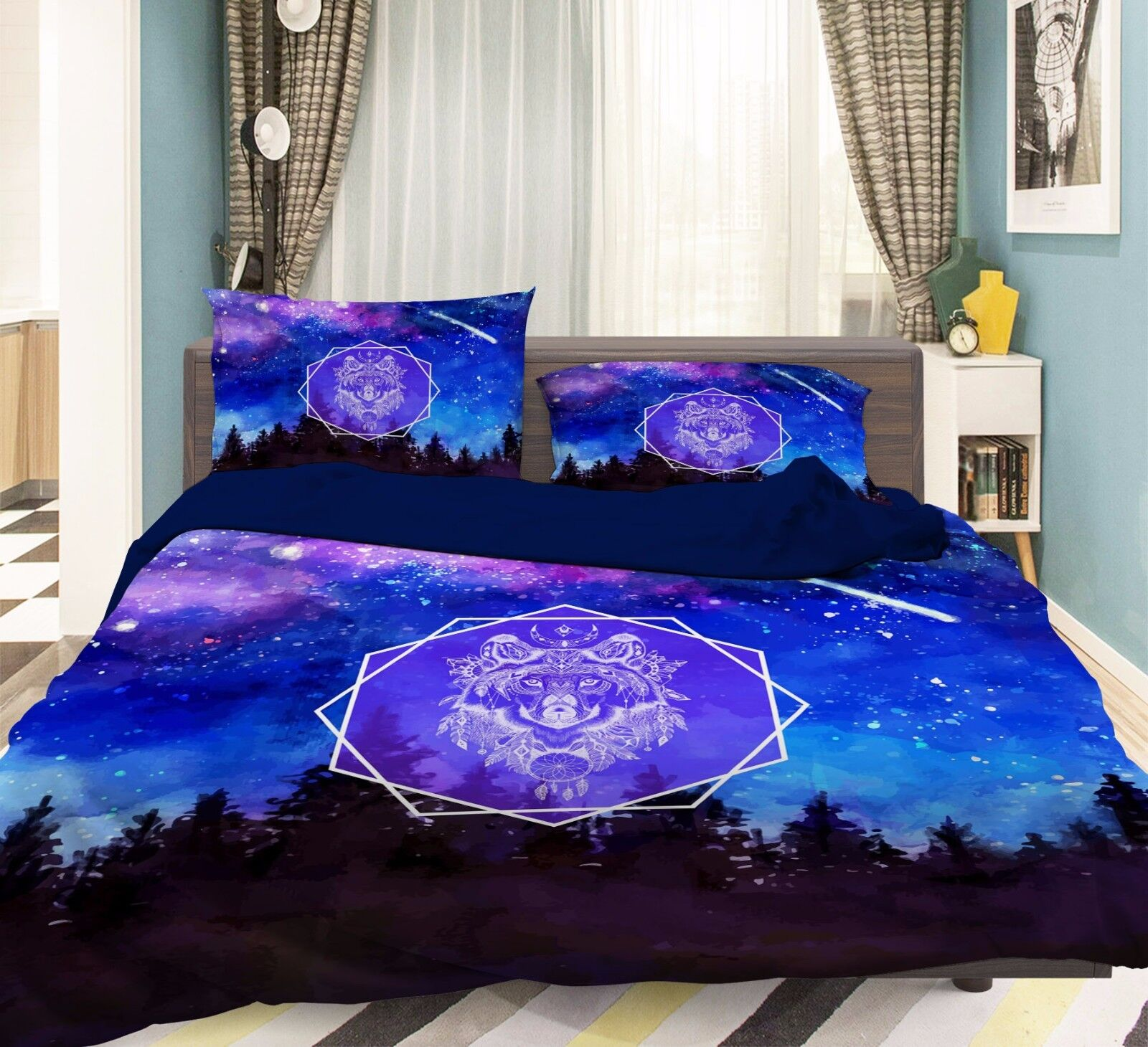 3D Lion King 806 Bed Pillowcases Quilt Duvet Cover Set Single Queen UK Summer