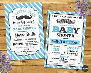 Moustache Little Man Baby Shower Invitation Party Custom Invite Boy