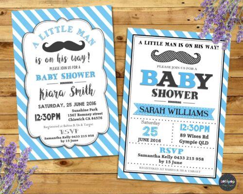 MOUSTACHE LITTLE MAN BABY SHOWER INVITATION PARTY CUSTOM INVITE BOY PERSONALISED