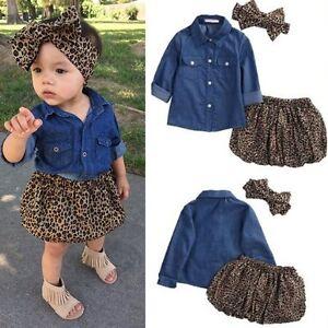 302bc1566 3PCS Toddler Kids Baby Girl Denim Shirt+Skirt Dress+Headband Outfits ...