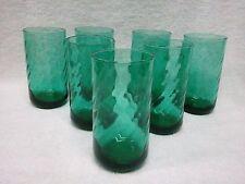 SET OF 7 - ANCHOR HOCKING OPTIC SWIRL - BLUE GREEN TEAL - 14 oz GLASS TUMBLERS