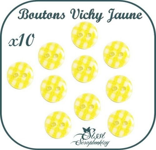 LOT 10 BOUTONS VICHY JAUNE LAYETTE BEBE FILLE COUTURE