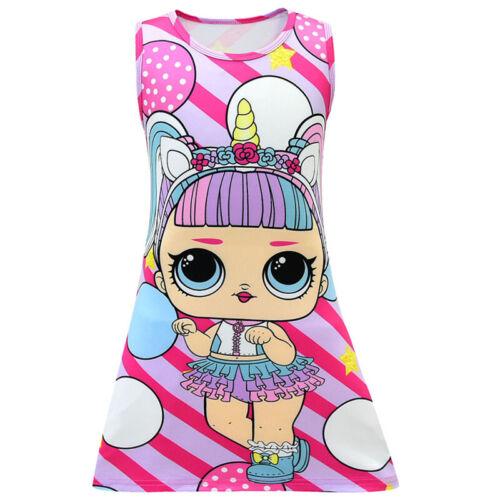 New Kids Girls LOL Surprise Dolls Dress Printed A Line Summer Sleeveless Dress