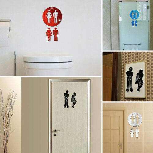 3D Mirror Effect Wall Stickers Hotel Washroom Entrance Sign Decal Toilet Sticker