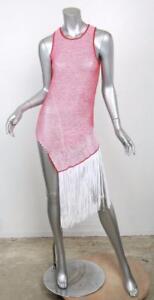39785c01e9fc5 STELLA MCCARTNEY White   Red Woven Knit Long Asymmetrical Fringe Top ...