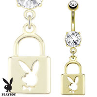 Gold Plated Prong Set CZ Belly Bar / Navel Ring c/w Dangle Playboy Bunny Lock
