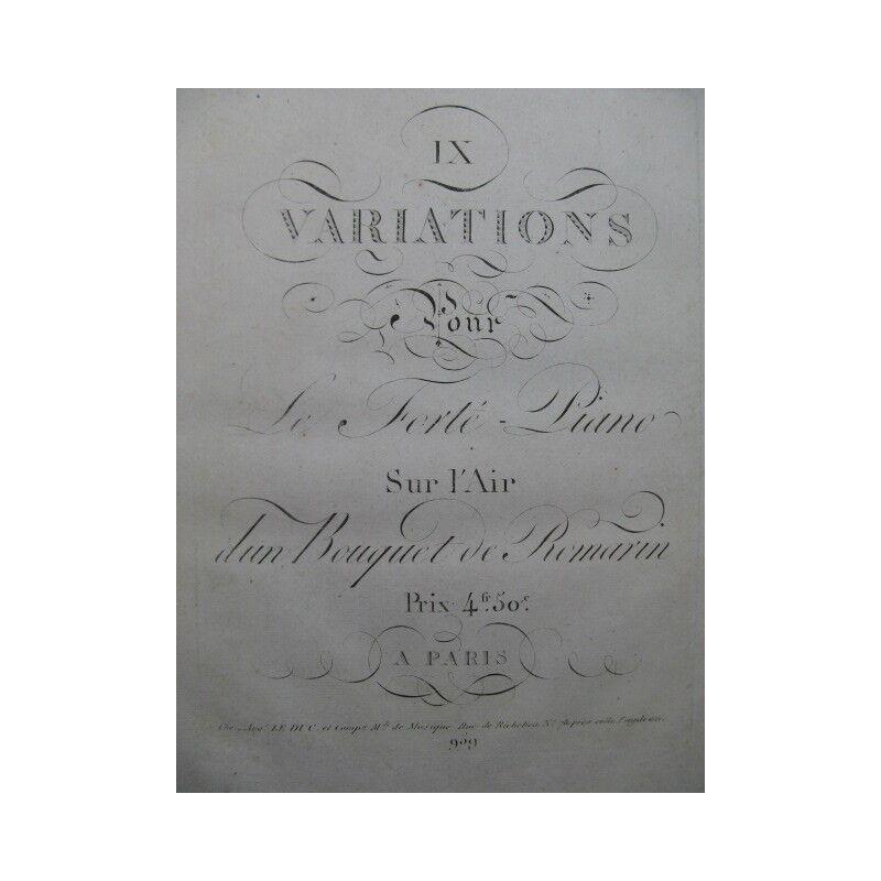 9 Variationen über l air d un-strauß Rosmarin Zongora ca1810 Értékelés -ból / ből zene
