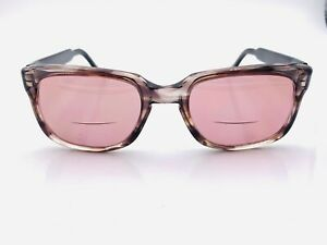 Vintage-Black-Gray-Oval-Horn-Rimmed-Sunglasses-USA-FRAMES-ONLY