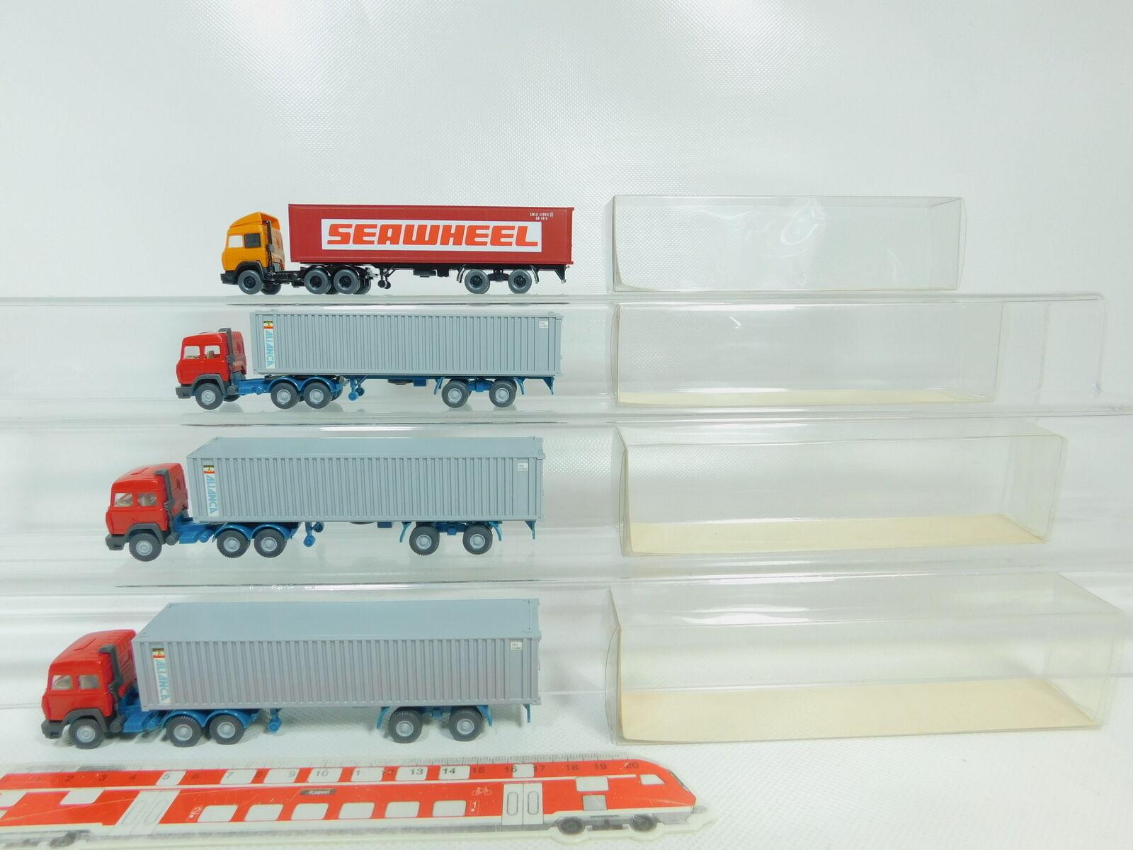 BO666-0,5 x Wiking 1 87 Container Semitrailer Iveco   Alianca + Seawheel S.G
