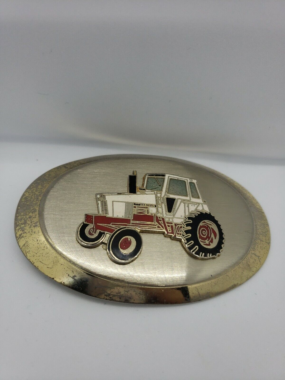 Gold Tone Tractor Belt Buckle White Red Farmer Rancher Crops 3 3/4 Length 2 1/4