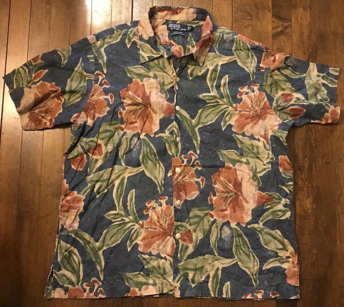 Polo Ralph Lauren Vintage Camp S S Linen Hawaiian Button Up Sport Shirt Men's XL