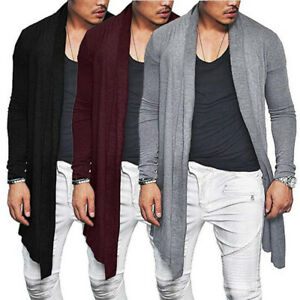 Mens-Casual-Sweater-Slim-Fit-Long-Sleeve-coat-Knitted-Cardigan-Trench-jacket