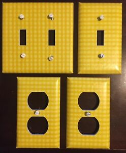 Image Is Loading Light Switch Cover Plates Yellow Gingham Kitchen Wall