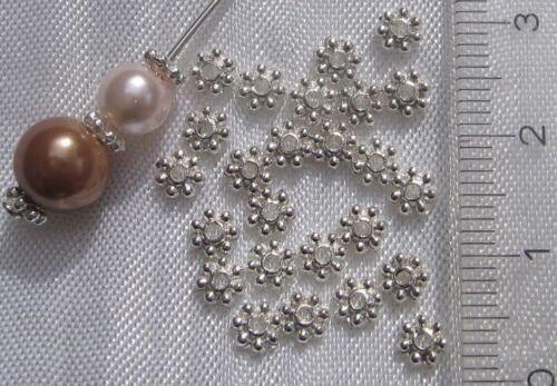 Lot de 100 intercalaires coupelles 4mm séparateurs perles argentés *S24