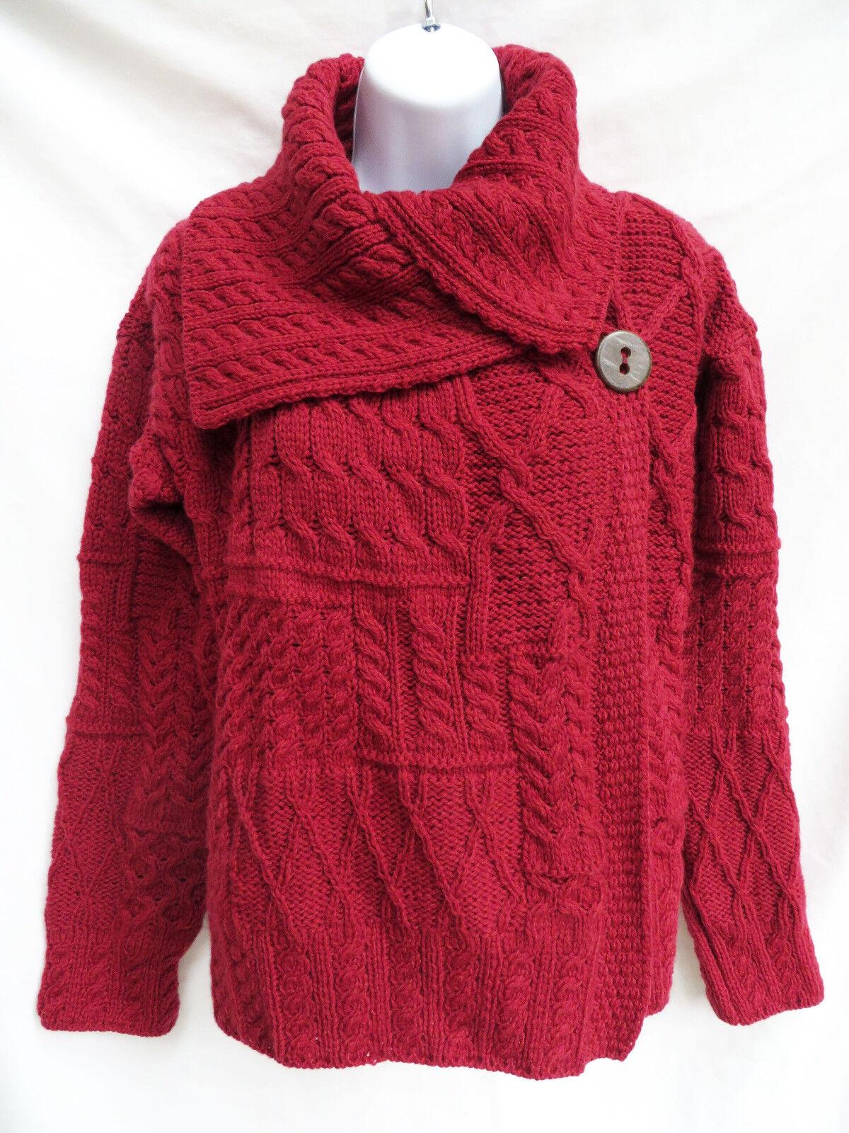 CARRAIG DONN Womens Red Corina Fisherman CableKnit Wool Cardigan Sweater Coat S