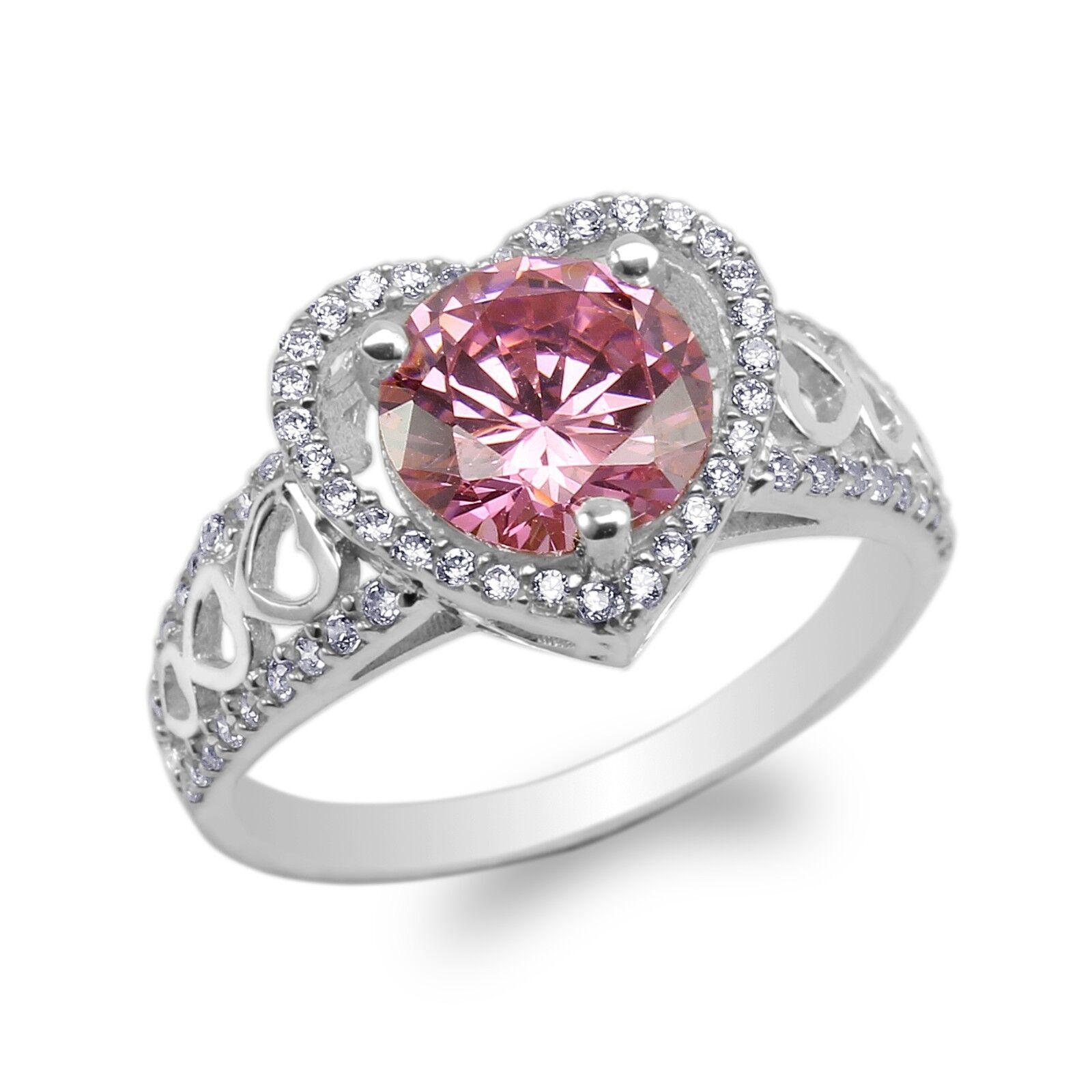 JamesJenny 10K 14K White gold Heart Shaped Halo Round CZ Ring Size 5-9