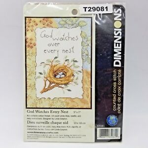 God-Watches-Every-Nest-Mini-Counted-Cross-Stitch-Kit-2008-Dimensions-65081-USA