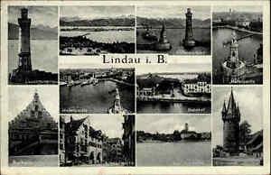 Lindau Lac De Constance 1937 Phare Port Cachet Spécial 102. Cannstatt Fête-afficher Le Titre D'origine