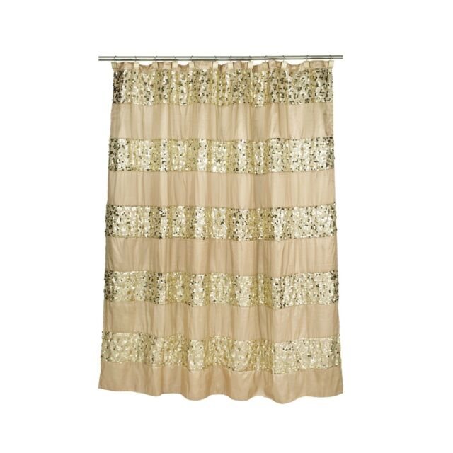 Popular Bath 5 Piece Sinatra GOLD Shower Curtain and Resin Bath Accessories Set