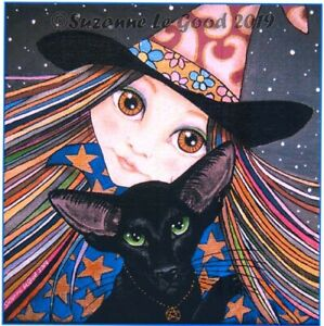 Oriental-Black-Cat-Witch-art-large-print-from-original-painting-Suzanne-Le-Good