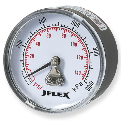 JFLEX MALE PRESSURE GAUGE 50mm 1/4 Inch BSP, Dual Scale - Rear Or Bottom Entry