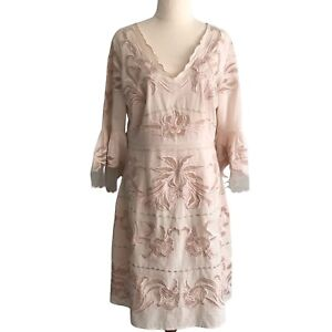 MOSS AND SPY Sz12 Blush Pink Embroidered Cotton Dress Sheer Accents Bell Sleeves