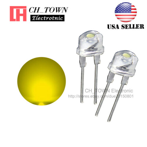 50pcs 8MM Water Clear Yellow Light Straw Hat 0.5W LED Diodes Wide Angle USA