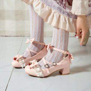 Women-Med-Block-Heels-Lolita-Cute-Bowknots-Girls-Cross-Strap-Shoes-Mary-Jane-Cos
