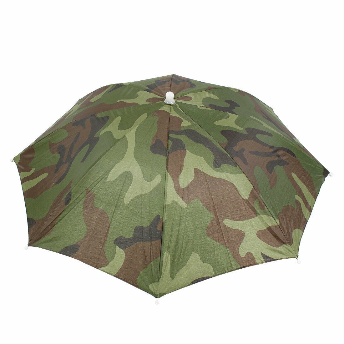 Camouflage Pattern Hands Free Polyester Umbrella Headwear Hat for Golfing