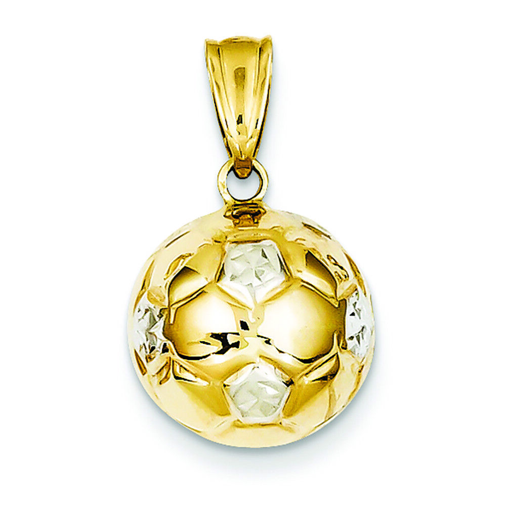 14K Two-tone gold Soccer Ball Charm Pendant MSRP  316