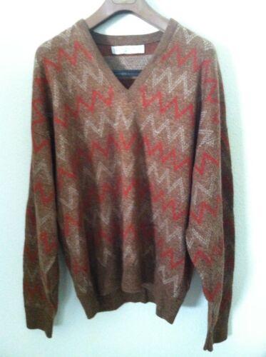 Vintage Jantzen men sweater brown orange v neck pullover zig zag size L USA