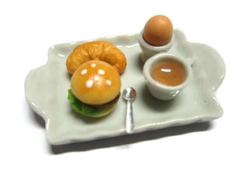 Breakfast Tea Set on Tray Dollhouse Miniatures Food Supply Deco