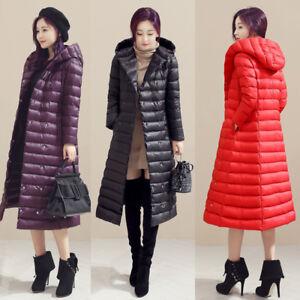 Women-039-s-Hooded-Trench-Long-Coat-Duck-Down-Coat-Knee-High-Parkas-Waterproof