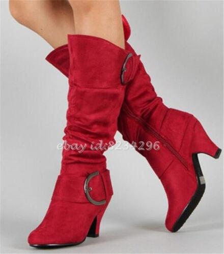 Europa Stylish Wadenhohe Stiefel Damenschuhe Blockabsatz Boots Schnalle Gr34-43