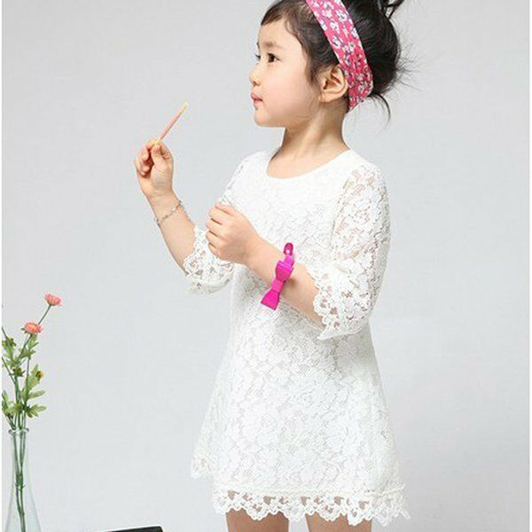 Hot Sell Baby Kids Girls Full Lace Dress Floral Princess Party Dress Skirt 2-7Y