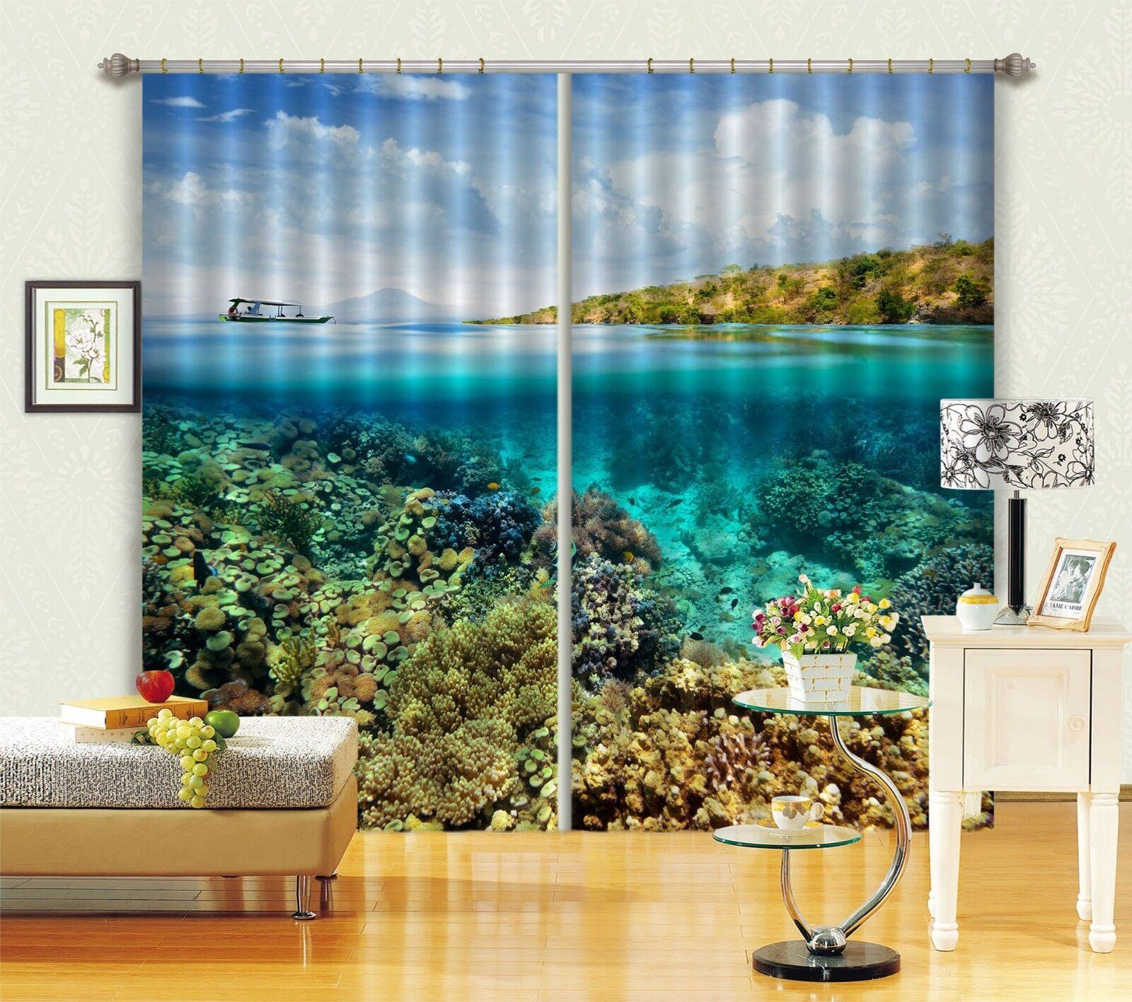 3D cielo River 75 Cortinas de impresión de cortina de foto Blockout Tela Cortinas Ventana CA
