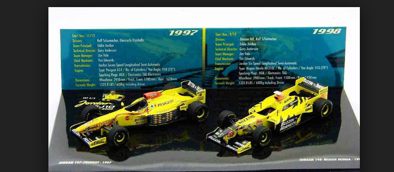 Jordan set 1997&1998 402109798 1 43 Minichamps