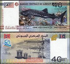 Djibouti 40 Francs 2017 , Unc , Shark , 40'th Aniv. Independence Comm.,  P-New